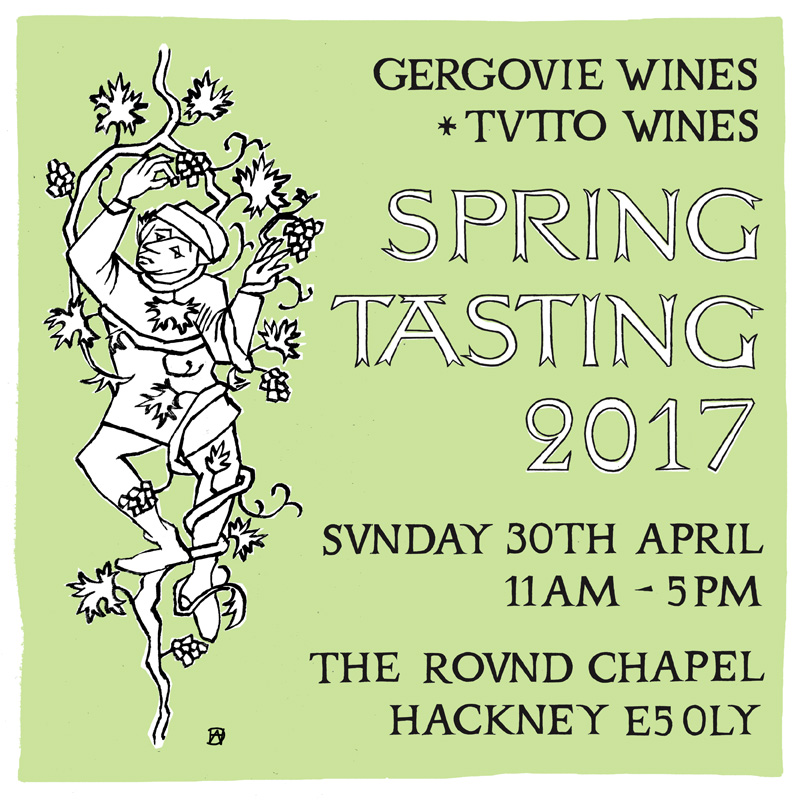 Spring Tasting 2017 hosted by Gergovie Wines. Artwork by Harry Darby & Anna Hodgson.