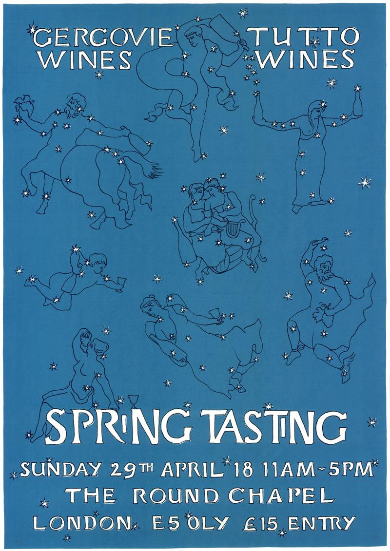 Spring Tasting 2018 hosted by Gergovie Wines. Artwork by Harry Darby & Anna Hodgson.